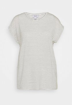Vero Moda - VMAVA PLAIN REBEC STRIPE  - T-Shirt print - snow white/night sky