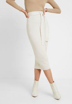 Missguided Tall - TIE WAIST MIDI SKIRT - Bleistiftrock - cream