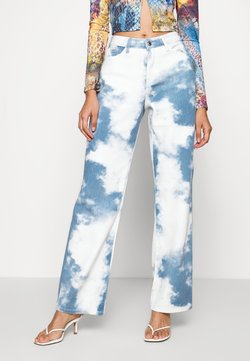 Jaded London - PRINTED SLOUCHY FIT CLOUD PRINT - Jeans Straight Leg - blue/white