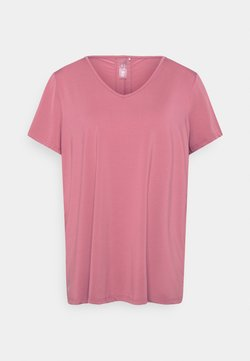 ONLY Play - ONPBAKO V NECK TRAINING TEE CURVY - T-Shirt print - mesa rose