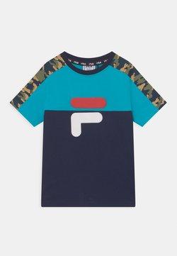 Fila - NOAH TEE - Camiseta estampada - black iris/scuba blue/desert