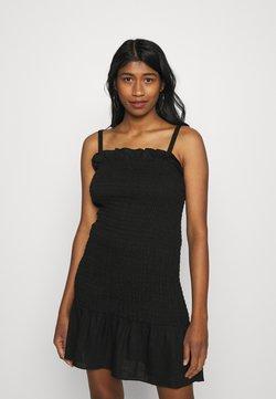 Glamorous - SMOCKED BODY MINI DRESS WITH NARROW STRAPS - Vestido de tubo - black