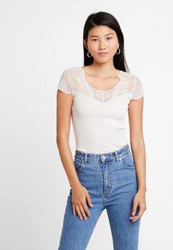 Rosemunde - SILK-MIX T-SHIRT REGULAR W/LACE - T-Shirt print - soft powder