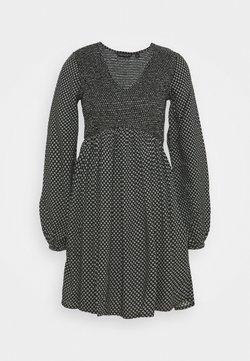 Dorothy Perkins - DITSY SHEERED MINI FIT AND FLARE - Freizeitkleid - black