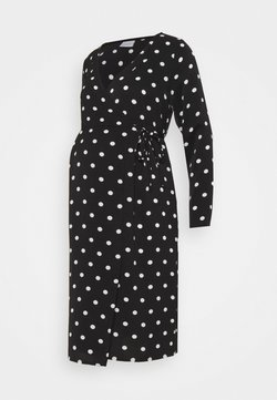 MAMALICIOUS - MLEVA WRAP DRESS - Trikoomekko - black/white dots