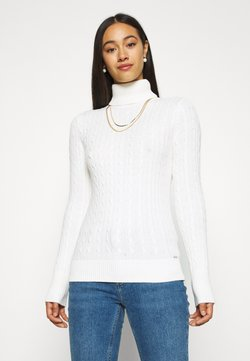 Superdry - CROYDE CABLE ROLL NECK - Strickpullover - winter white