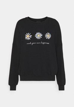 Even&Odd - Printed Crew Neck Sweatshirt - Sweatshirt - black