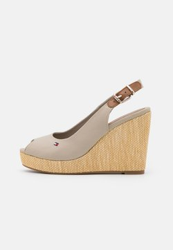 Tommy Hilfiger - ICONIC ELENA SLING BACK WEDGE - High heeled sandals - stone