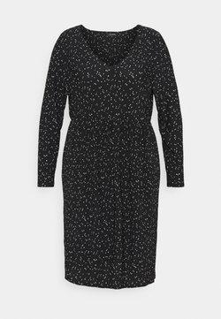 Evans - POLKADOT PLEATED DRESS - Freizeitkleid - black