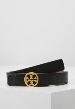 Tory Burch - REVERSIBLE LOGO BELT - Belt - black/gold-coloured
