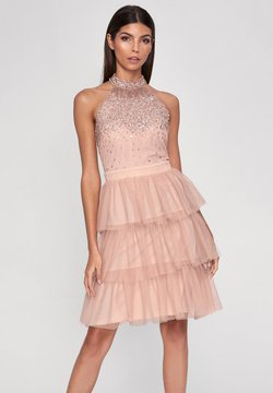 Lipsy - HALTER NECK HAND EMBELLISHED RUFFLE DRESS - Cocktailjurk - pink