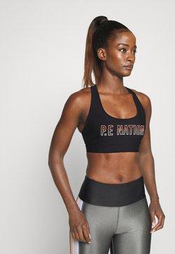 P.E Nation - BASELINE SPORTS BRA - Medium support sports bra - black/coral