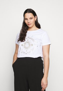ONLY Carmakoma - CARBARNEY LIFE TEE - T-Shirt print - bright white