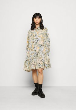 Pieces Petite - PCAKIJA DRESS - Skjortekjole - black/green/orange