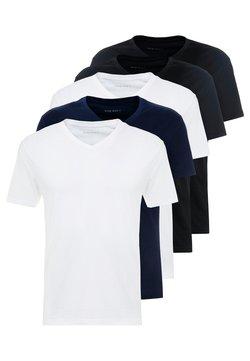 Pier One - 5 PACK - T-Shirt basic - white/blue/black