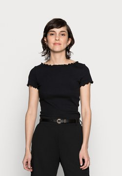 Anna Field - SHORT SLEEVE BOATNECK TOP - T-Shirt print - black