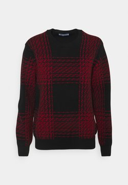 Johnstons of Elgin - INTARSIA CHECKED - Sweter - black/classic red