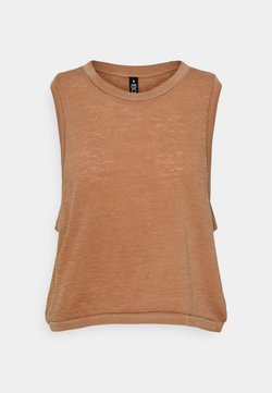 Cotton On Body - ALL THINGS FABULOUS CROPPED MUSCLE TANK - Top - cashew washed