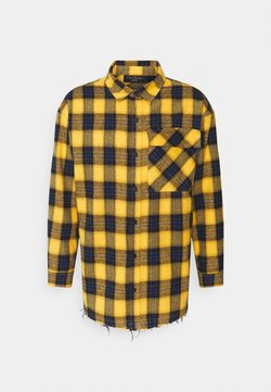 The Couture Club - OVERSIZED CHECK WITH COUTURE APPLIQUE SIGNATURE - Hemd - yellow/blue