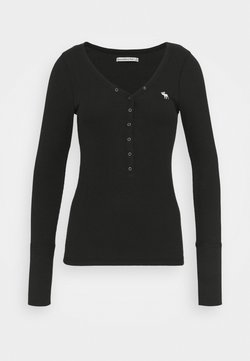 Abercrombie & Fitch - ICON HENLEY - Pitkähihainen paita - black