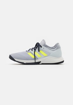adidas Performance - COURT TEAM BOUNCE INDOOR SHOES - Indoorskor - half silver/hi-res yellow/half blue