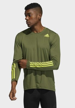 adidas Performance - TECHFIT 3-STRIPES FITTED LONG-SLEEVE TOP LONG-SLEEVE  - Funktionsshirt - green