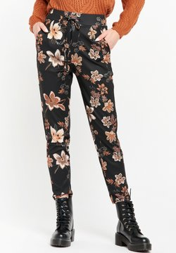 LolaLiza - WITH FLORAL PRINT AND STRING - Broek - black