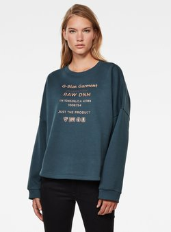G-Star - GRAPHIC TEXT RELAXED ROUND LONG SLEEVE - Sweatshirt - vintage navy