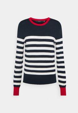 Vero Moda - VMLACOLE STRIPE - Strickpullover - navy blazer/snow white/goji