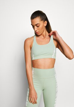 South Beach - SEAMLESS SMOKEY CROPCUT SEW - Sport-BH mit mittlerer Stützkraft - green/white