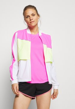 Puma - LITE WARM UP JACKET - Chaqueta de deporte - puma white/luminous pink/fizzy yellow