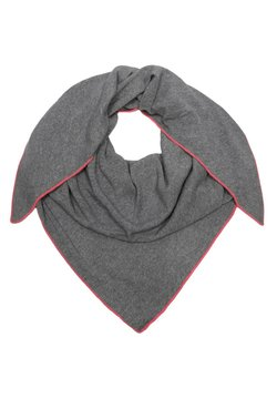 Zwillingsherz - Schal - dunkelgrau mit pinker kante