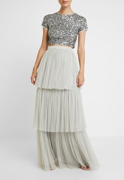 Maya Deluxe - TIERED SKIRT WITH WAISTBAND - Jupe longue - soft grey