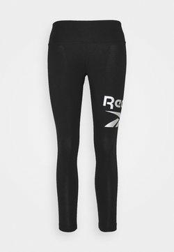 Reebok - LEGGING - Tights - black/silver metallic