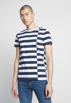 TOM TAILOR DENIM - STRIPED - Print T-shirt - navy