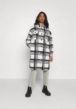 Vero Moda - VMCHRISSIE LONG CHECK  - Mantel - snow white/black