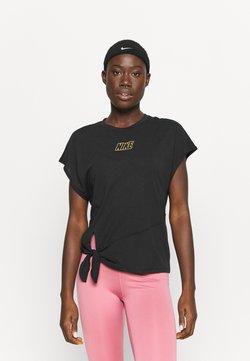 Nike Performance - DRY TIE - Printtipaita - black/metallic gold