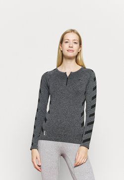 ONLY Play - ONPSUE CIRCULAR ZIP TRAINING  - Camiseta de deporte - dark grey melange/black