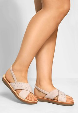 Yours Clothing - NUDE CROSS OVER DIAMANTE IN EXTRA WIDE FIT - Riemensandalette - pink