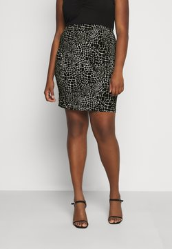 CAPSULE by Simply Be - MONO PRINT MINI SKIRT - Minirock - black/ivory