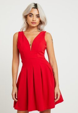 WAL G PETITE - EXCLUSIVE V NECK MINI DRESS - Jersey dress - red