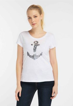 DreiMaster - DREIMASTER DAMEN MIT PAILLETTEN - T-Shirt print - white