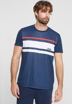 Fila - TREY - T-Shirt print - peacoat blue / white / fila red