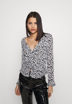 Miss Selfridge - DALMATION PRINT RUCHED FRONT BLOUSE - Bluse - ivory