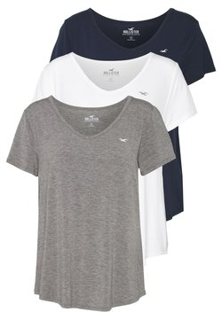 Hollister Co. - EASY BASIC 3 PACK - T-Shirt basic - white/grey/navy