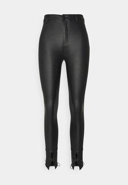 Missguided Petite - PETITE TIE HEM COATED VICE - Trousers - black