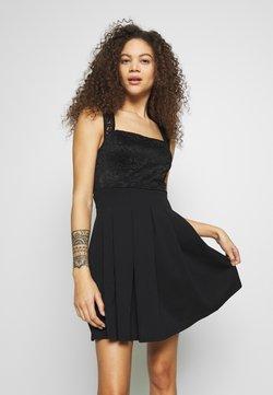 WAL G PETITE - SQUARE NECK SHOULDERS DRESS - Vestido informal - black