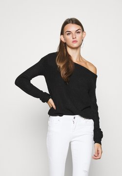 Missguided - OPHELITA OFF SHOULDER JUMPER - Jersey de punto - black