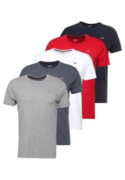 Hollister Co. - 5 PACK CREW  - T-shirt imprimé - white/grey/red/navy texture/black