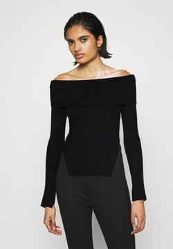Gina Tricot - OFELIA OFF SHOULDER - Strickpullover - black
